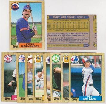 ERROR LOT - 10 Different 1987 Topps Baseball Wrong Back Errors - Keith Hernandez + More