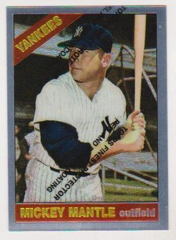 Mickey Mantle 1966 Topps Finest #50 Commemorative Card - 1996 Topps #16 of 19 Insert Card