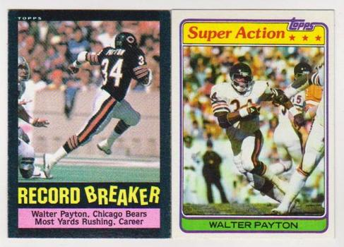 1981 + 1985 Topps Walter Payton Football Card Pair - HOF'er