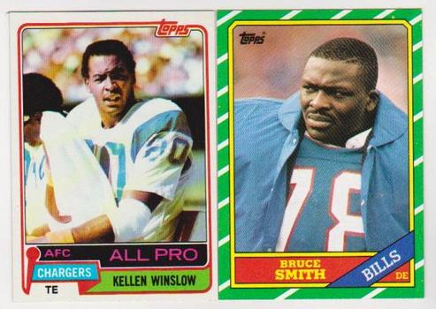 Rookies - 1981 Topps Kellen Winslow #150 + 1986 Topps Bruce Smith #389 Card Pair - HOF'ers