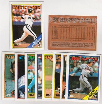 ERROR LOT - 10 Different 1988 Topps Baseball Wrong Back Errors - Ken Caminiti Rookie + More