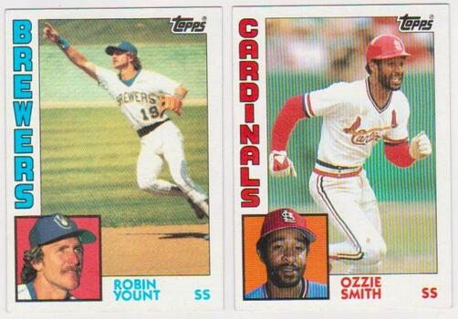 1984 Topps Robin Yount #10 + Ozzie Smith #130 Card Pair