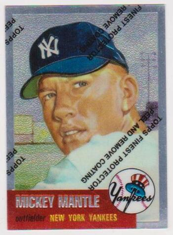 Mickey Mantle 1953 Topps Finest #82 Commemorative Card - 1996 Topps #3 of 19 Insert Card