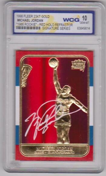 Graded Gem Mint 10 - Michael Jordan 1998 Fleer '86 Rookie Red Holo Refractor 23 Kt Gold Card