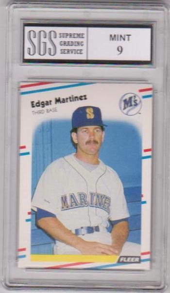 Rookie Graded Mint 9 - Edgar Martinez 1988 Fleer #378 Card