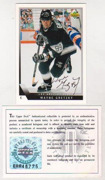 Signed - Wayne Gretzky UDA 1993-94 Upper Deck Autographed Card w/ COA