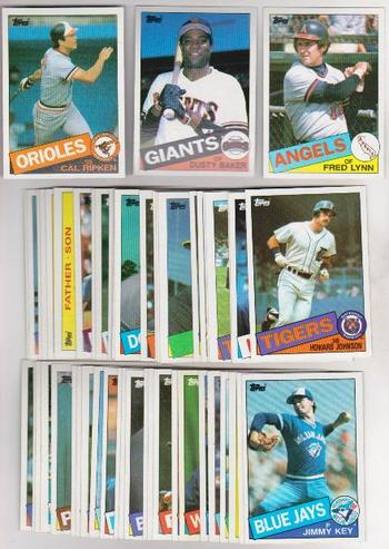 100 Different 1985 Topps Baseball Cards - Cal Ripken, Fred Lynn + More