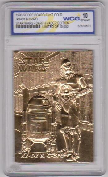 Graded Gem Mint 10 - R2-D2 + C-3PO 1996 Score Board Star Wars 23 Kt Gold Card