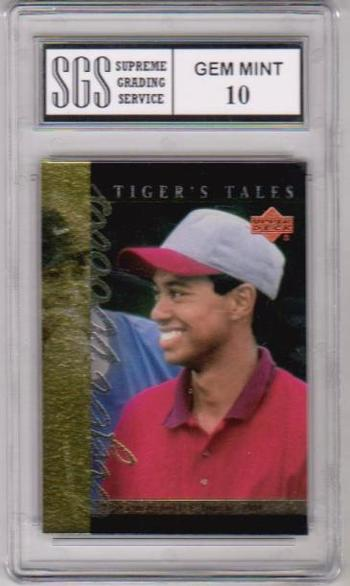 Graded Gem Mint 10 - Tiger Woods 2001 Upper Deck Tiger's Tales #TT9