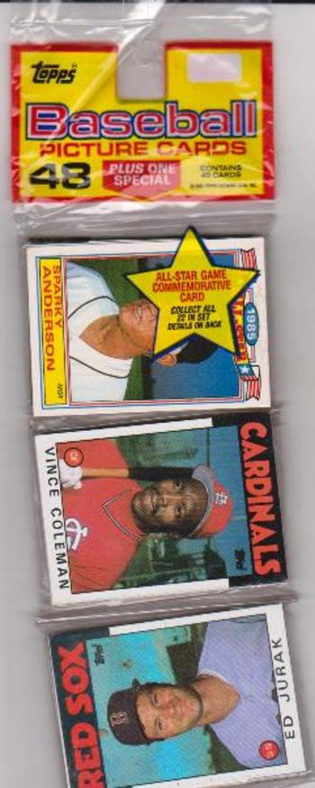 1986 Topps Baseball 49 Card Rack Pack W Vince Coleman On