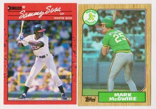 Rookies - Mark McGwire 1987 Topps + Sammy Sosa 1990 Donruss Rookie Pair