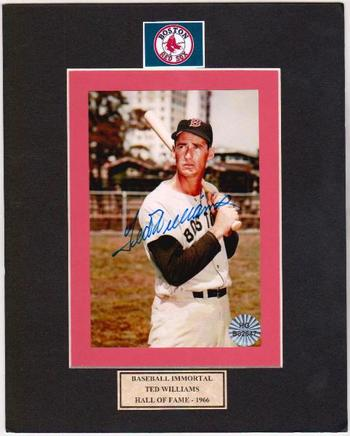 Signed - Ted Williams Autographed 4x6 Photo On A 8x10 Matte Finish w/COA
