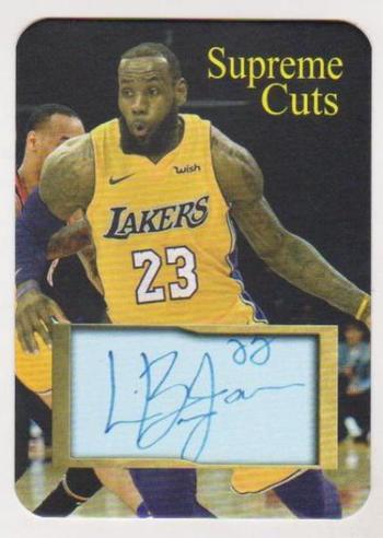#13/50 Produced - Lebron James Facsimile Autograph Supreme Cuts Die Cut Card - Lakers Uniform - Scarce!