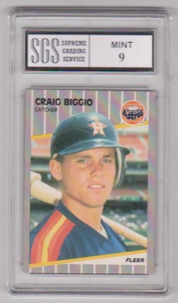 Rookie Graded Mint 9 - Craig Biggio 1989 Fleer #353 Card