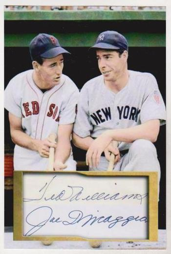 Ted Williams + Joe DiMaggio 4x6 Photo w/ Facsimile Signatures - Nice For Framing!