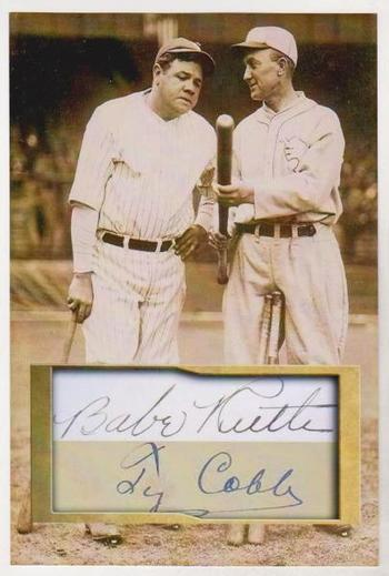 Babe Ruth + Ty Cobb 4x6 Photo w/ Facsimile Signatures - Nice For Framing!