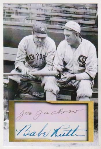 Shoeless Joe Jackson + Babe Ruth 4x6 Photo w/ Facsimile Signatures - Nice For Framing!