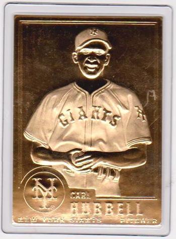 22 kt Gold - CARL HUBBELL 1996 Danbury Mint Gold Card - HOF'er