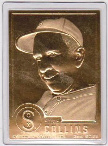 22 kt Gold - EDDIE COLLINS 1996 Danbury Mint Gold Card - HOF'er