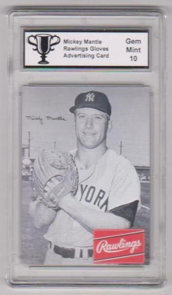 Graded Gem Mint 10 Mickey Mantle Rawlings Gloves Advertising Promo Card
