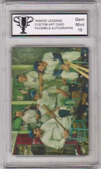 Graded 10 - Yankee LEGENDS Facsimile Autograph ART Card w/ Mantle Ruth Jeter ++