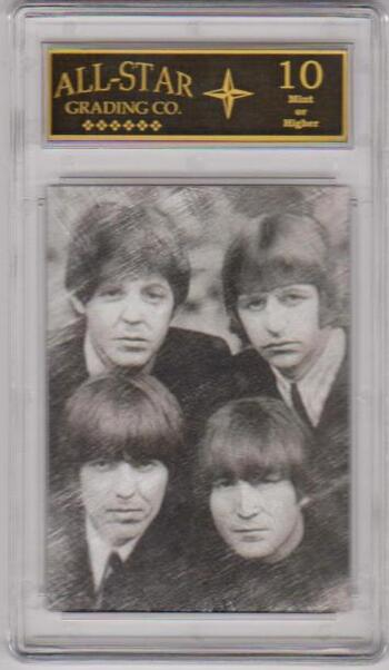 Graded 10 - The Beatles Facsimile Autograph Black And White Sample Card
