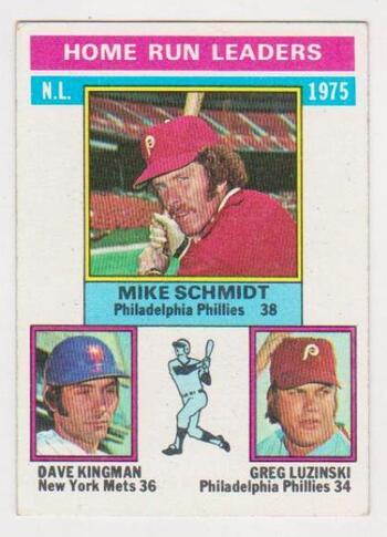 1976 Topps Mike Schmidt/Dave Kingman/Greg Luzinski #193 Card