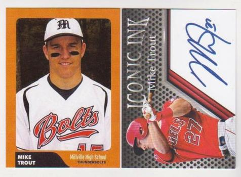 2 Different Mike Trout Minor Custom ACEO High School Rookie + Iconic Ink Facsimile Autograph Cards