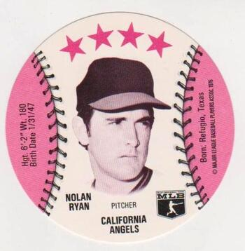 1976 Isaly's Disc Nolan Ryan Card - HOF'er