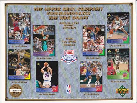 1993 Upper Deck 8.5x11 NBA Draft Sheet w/ Shaquille O'Neal Rookie +++