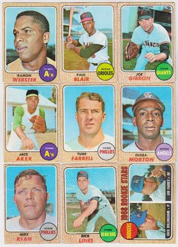 9 Different 1968 Topps Baseball Cards - Vintage Lot