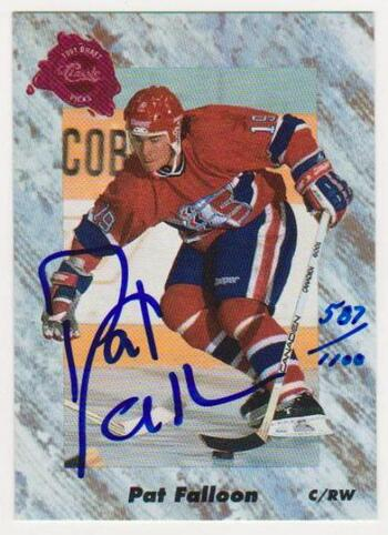 Signed - Pat Falloon 1991 Classic Draft Picks Certified Autographed Rookie Card #587/1100