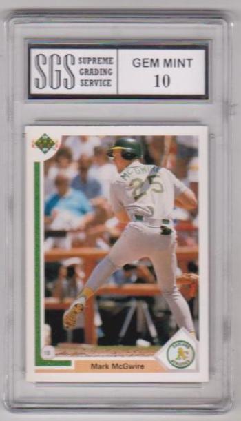 Graded Gem Mint 10 - Mark McGwire 1991 Upper Deck #174 Card