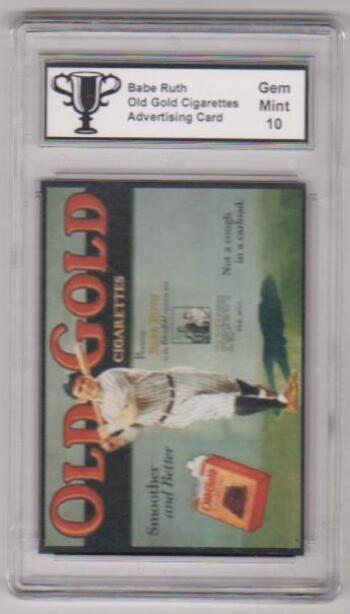 Graded Gem Mint 10 Babe Ruth Old Gold Cigarettes Advertising Promo Card