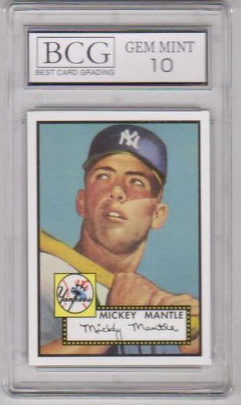 Graded Gem Mint 10 - MICKEY MANTLE 1952 Topps #311 Topps 1952 Reprint Series
