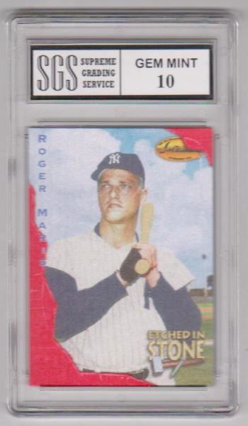 Graded Gem Mint 10 - Roger Maris 1994 Ted Williams Maris RED Etched In Stone #ES8 Card