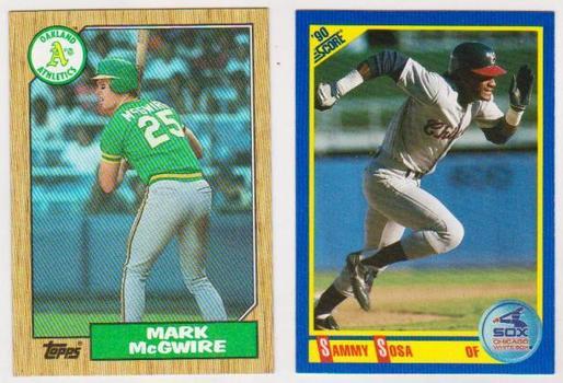 Rookies - Mark McGwire 1987 Topps + Sammy Sosa 1990 Score Rookie Pair