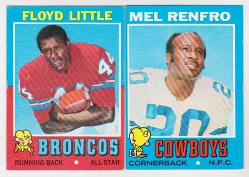 1971 Topps Floyd Little #110 + Mel Renfro #118 Card Pair