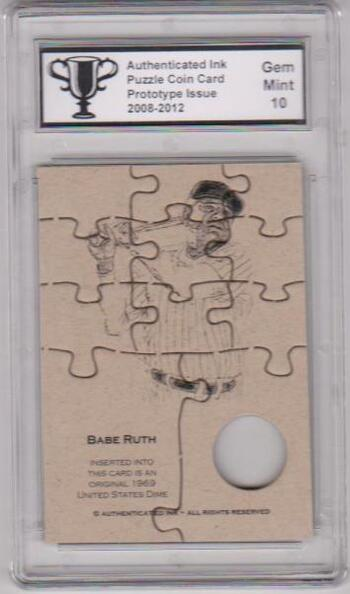 Graded Gem Mint 10 - Babe Ruth Authenticated Ink Puzzle Prototype Card