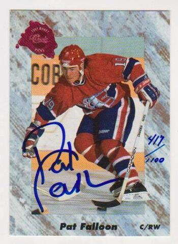 Signed - Pat Falloon 1991 Classic Draft Picks Certified Autographed Rookie Card #417/1100