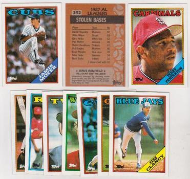 ERROR LOT - 10 Assorted 1988 Topps Baseball Wrong Back Errors - Dave Winfield Back + More