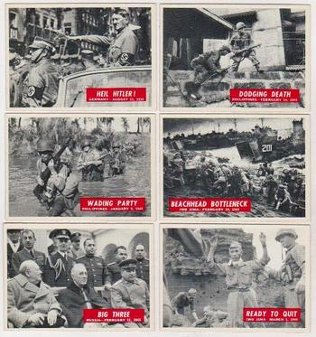 6 Different 1965 PCGC World War II Trading Cards - Nice Lot