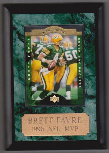 Brett Favre Plaque w/ 1996 Upper Deck A Cut Above Insert Card Inside