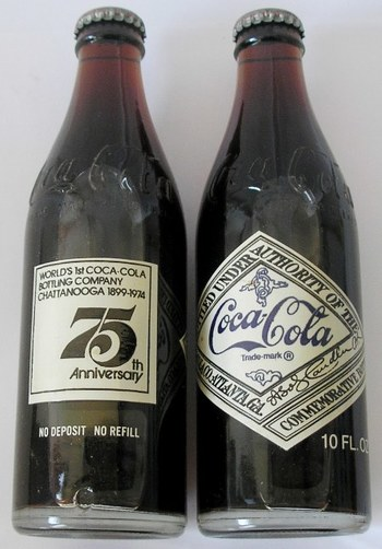 Two 1974 Unopened Coca-Cola 75th Anniversary Chattanooga Bottles