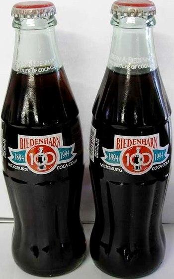 2 Unopened Coca-Cola 1994 Biedenharn 100th Anniversary Bottles - Nice