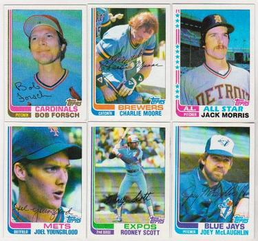 6 Different 1982 Topps Wrong Back Error Cards - Jack Morris + More