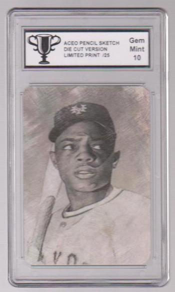 Graded Gem Mint 10 - Willie Mays Pencil Sketch ACEO Card #7/25 Produced