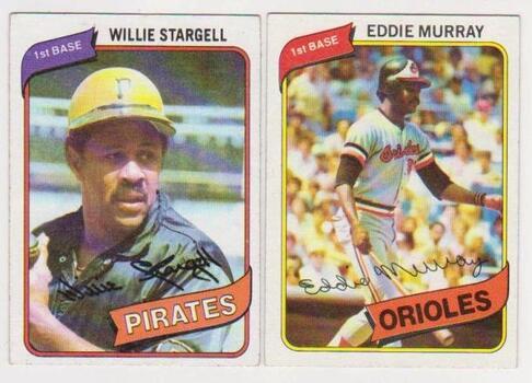 1980 Topps Willie Stargell #610 + Eddie Murray #160 Card Pair