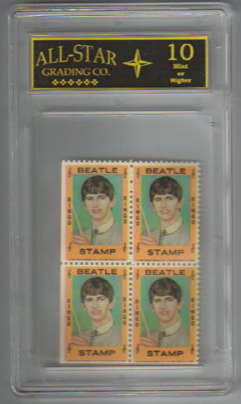 Graded 10 - 1964 THE BEATLES Ringo Starr Hallmark Stamps Plate of 4