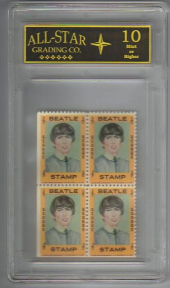 Graded 10 - 1964 THE BEATLES George Harrison Hallmark Stamps Plate of 4